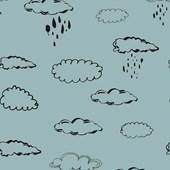 Papel De Parede Nuvem Azul Com Preto Joana Lira