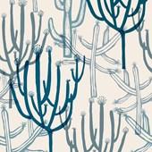 Papel De Parede Mandacaru Branco E Azul Joana Lira