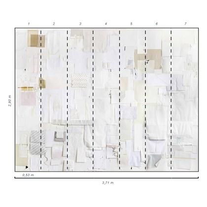 Painel  colagem papéis brancos  Lucas Simões