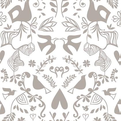 Papel de parede barroco branco e cinza Joana Lira