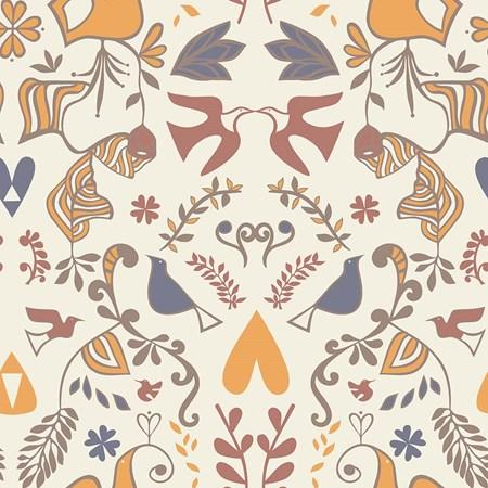 Papel de parede barroco colorido Joana Lira