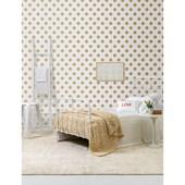 Papel de parede bolas mostarda branco. + Regina Strumpf