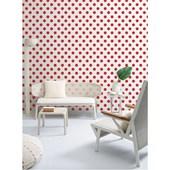 Papel de parede bolas vermelho branco. + Regina Strumpf