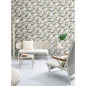 Papel de parede floral grande azul branco. + Regina Strumpf