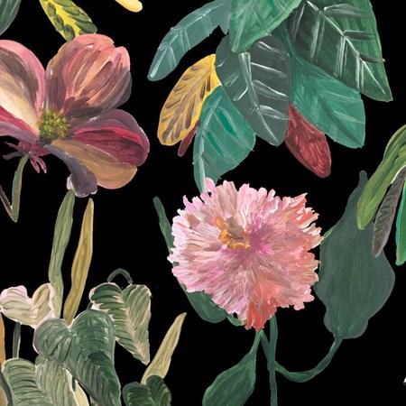 Papel De Parede Flores Imaginárias Fundo Preto Pat Lobo