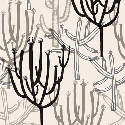 Papel de parede mandacaru branco e preto Joana Lira