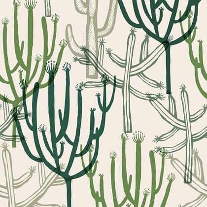 Papel de parede mandacaru branco e verde Joana Lira