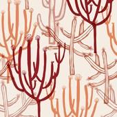Papel de parede mandacaru branco e vermelho Joana Lira